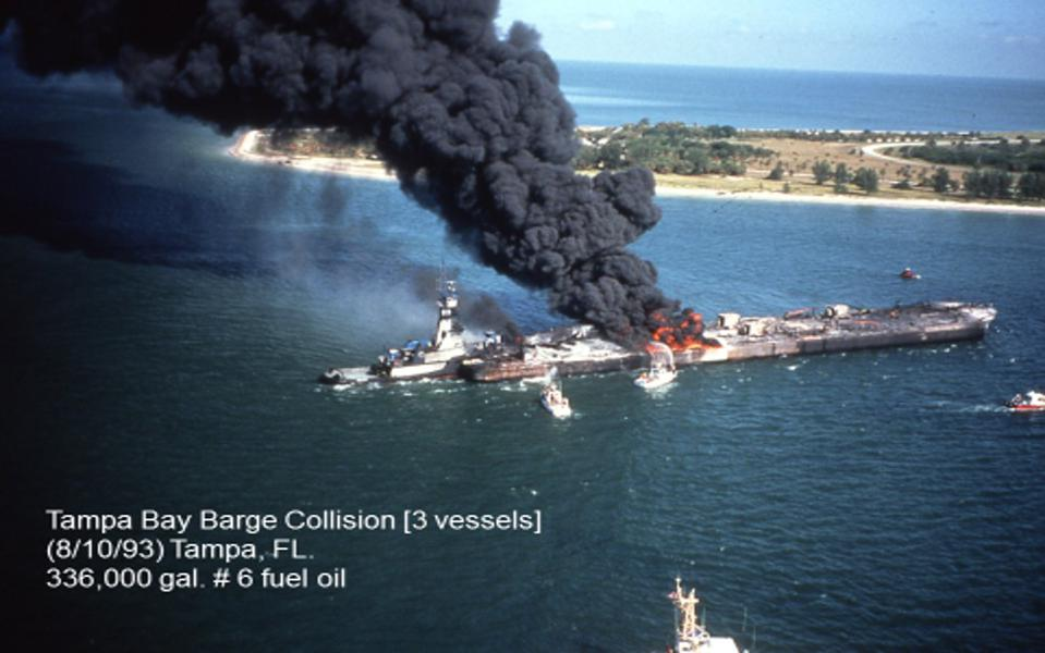 1993, Florida, USA: The Tampa Bay Barge collision released 336,000 gallons of heavy fuel oil, which is a similar volume to what may have been leaked in Mauritius' lagoons.