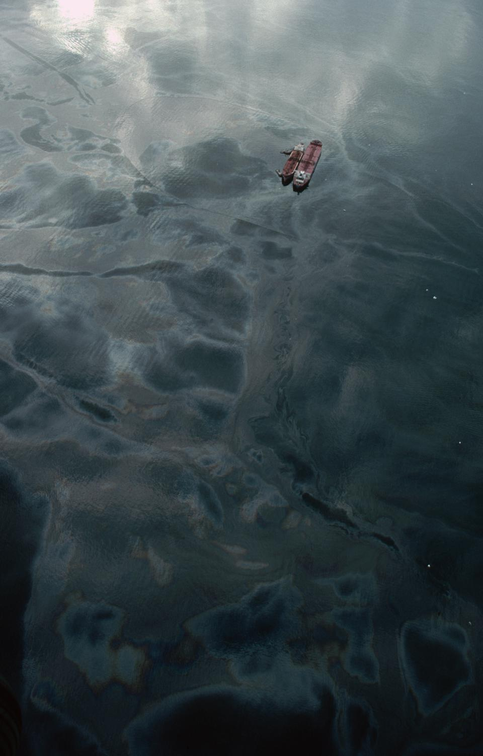 Aerial View of the Exxon Valdez Oil Spill in Prince William Sound