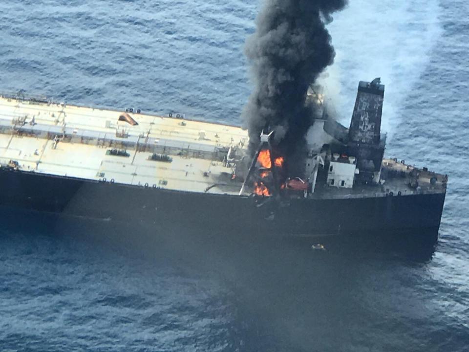 3 September 2020: fire breaks out on VLCC oil supertanker, MT New Diamond off the coast of Sri Lanka.  The vessel is carrying 2 million barrels of oil.