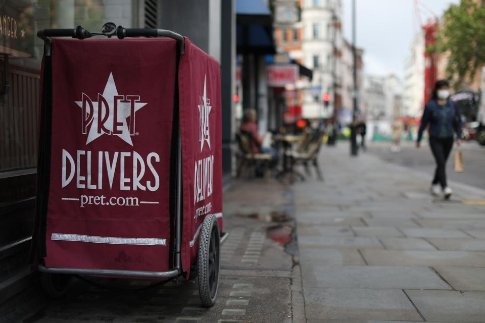 Pret a Manger delivery cart outside a store in central London