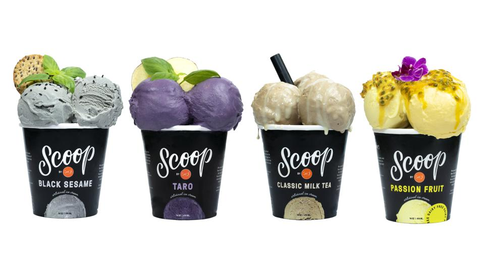 pints of Scoop's new flavors, black sesame, taro, classic milk tea and passion fruit