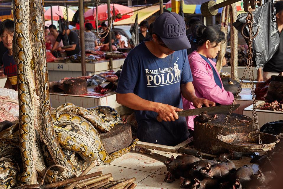 A market trader slices up fruit bats