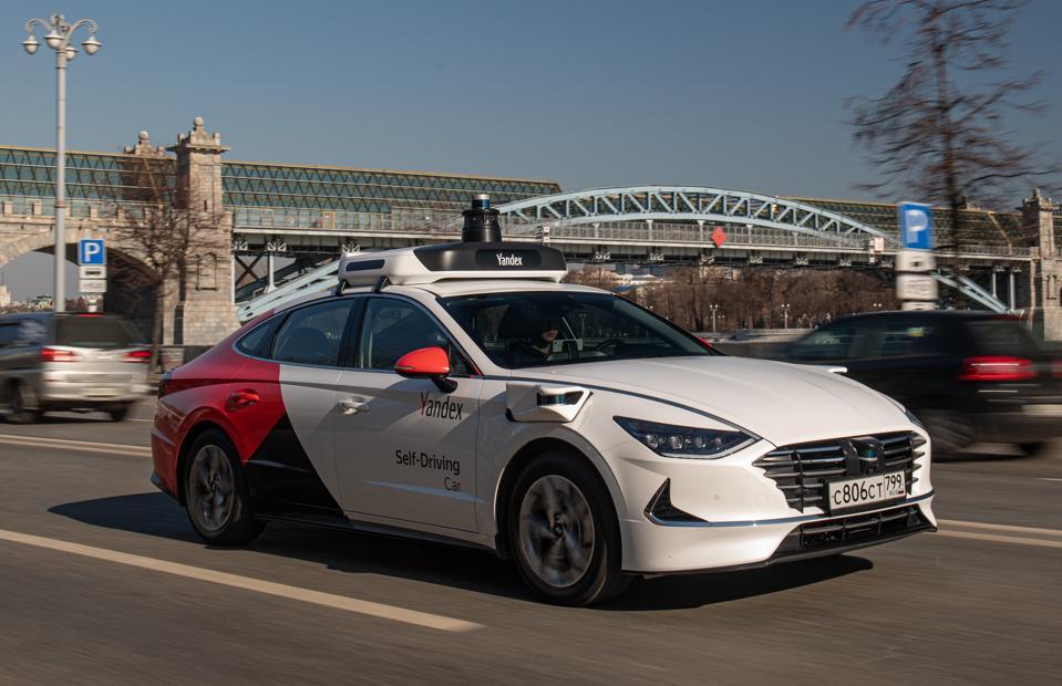Yandex Self-Driving Hyundai Sonata on the road.