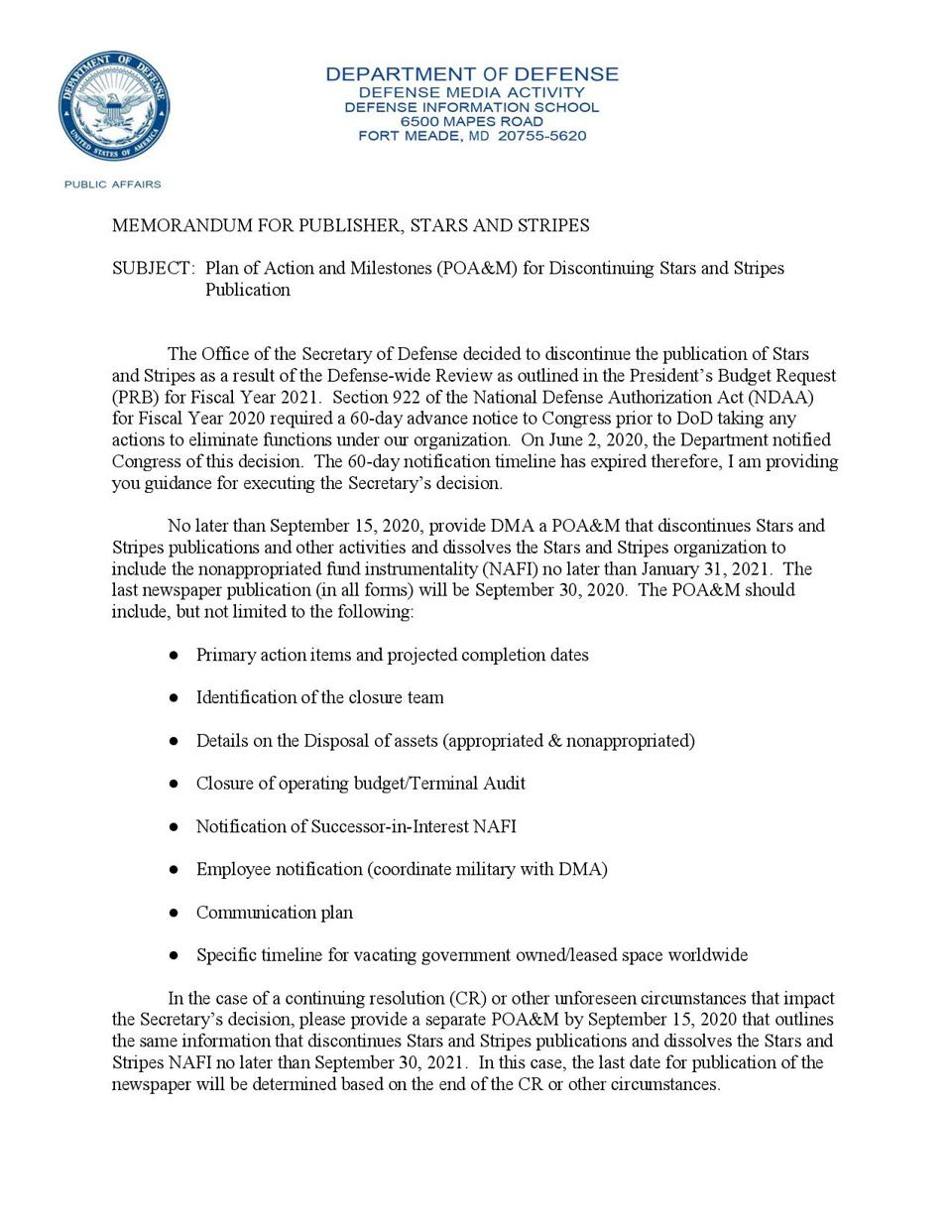DOD memo to Stars and Stripes