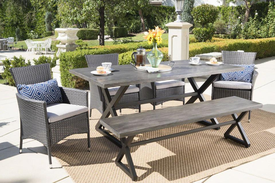 Christopher Knight Home Owen Aluminum Wicker Outdoor Dining Set With Cushions
