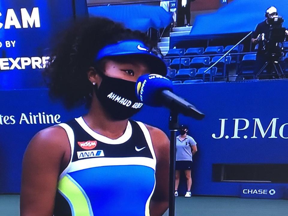 Naomi Osaka wears an Ahmaud Arbery mask for her latest match.