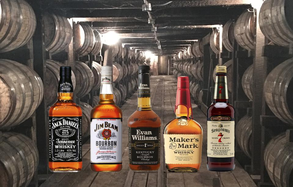 Jack Daniel's, Jim Beam, Evan Williams, Maker's Mark, Seagram's 7 in a barrelhouse