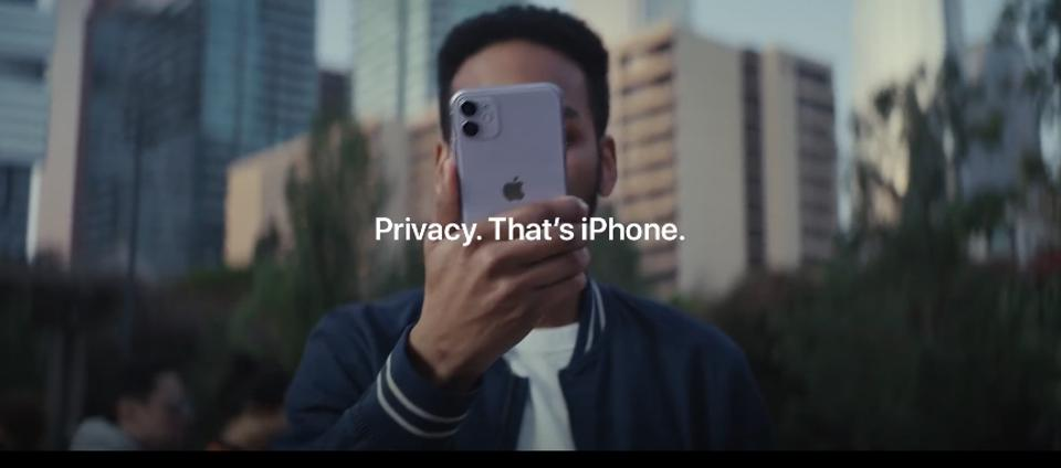 A screenshot from an Apple video ad focusing on privacy on mobile devices.