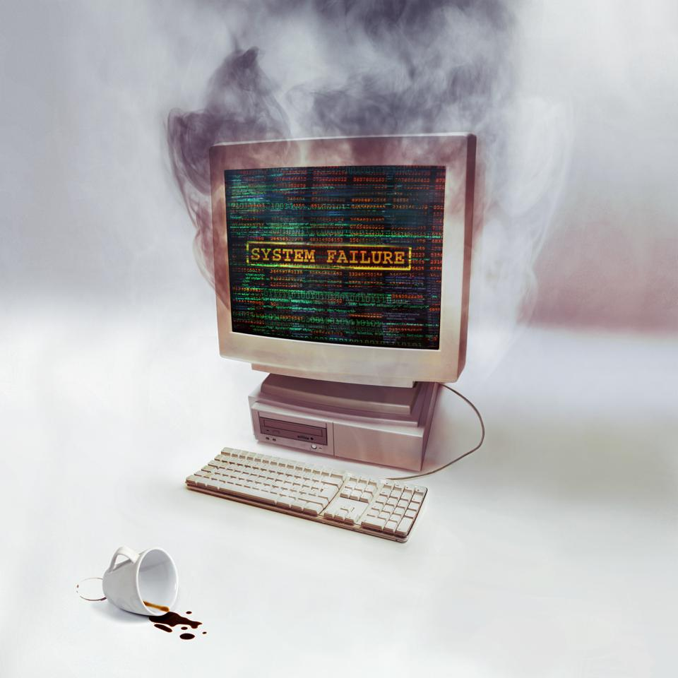Smoke pouring from a PC