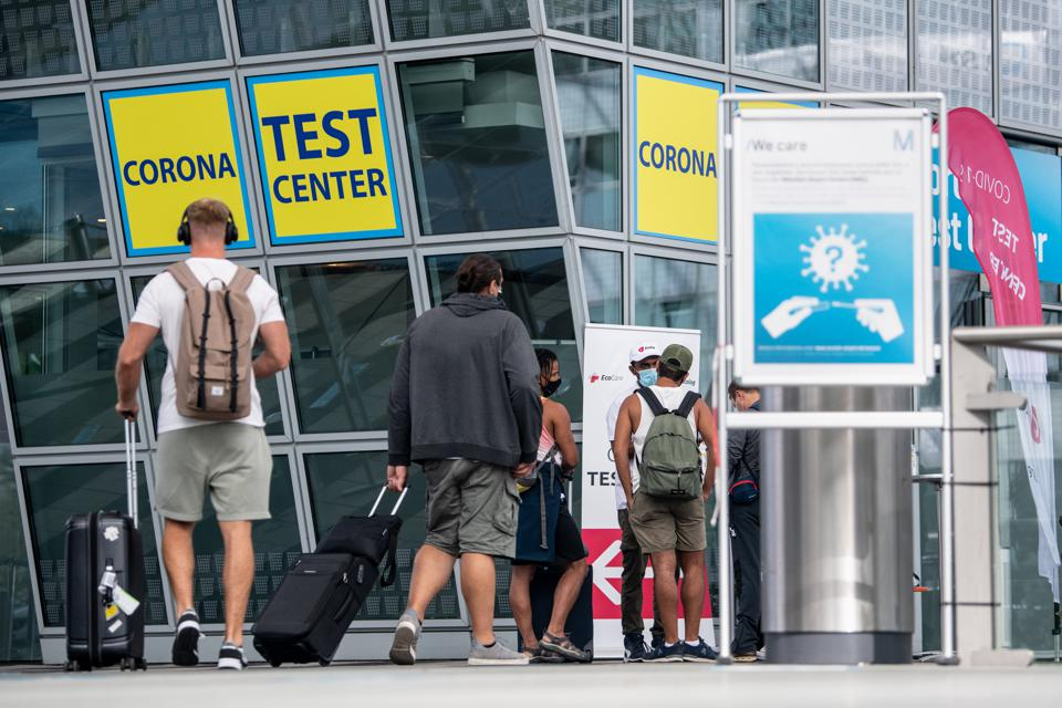 Corona Covid test station at Munich Airport to avoid quarantine and travel bans