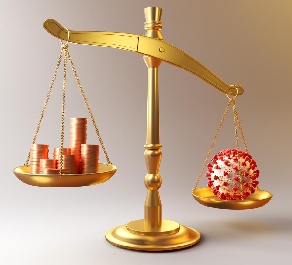 Coronavirus pandemic vs coins representing investment on scales of justice