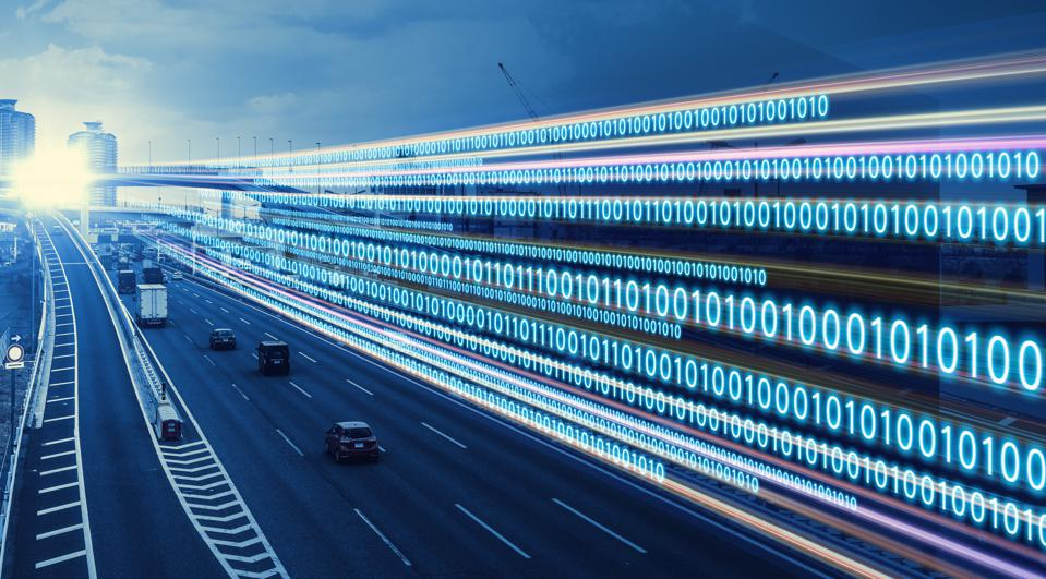 Digital transformation concept. Binary code.