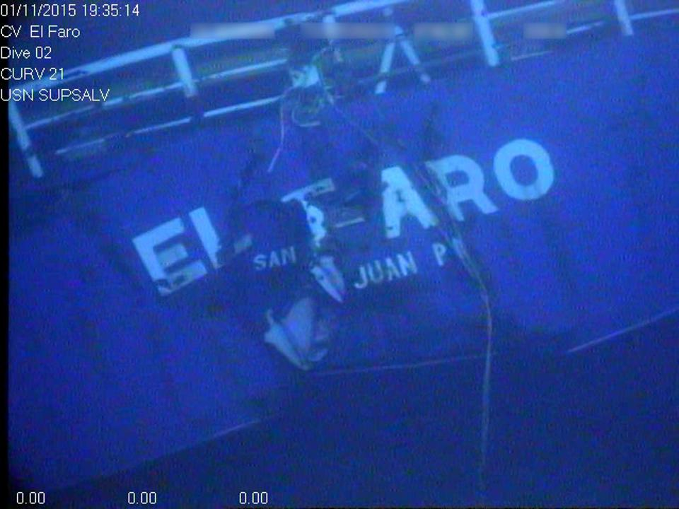 3 January 2014: Image of the stern (back) of freedom fighter El Faru, immersed on a beach 15,000 feet deep in the sea.  The image was taken by the US Navy's recovery vehicles.