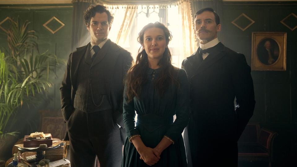 Henry Cavill, Sam Claflin and Millie Bobby Brown in 'Enola Holmes'