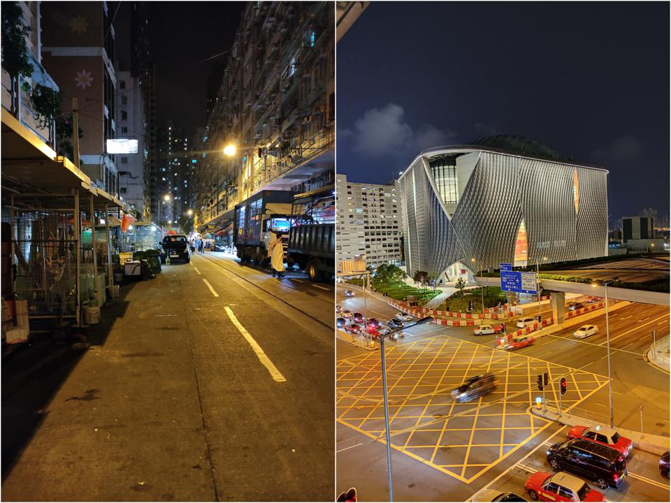 A night shot taken without night mode (left) and with night mode (right). Notice the image on the right is better balanced and lit.