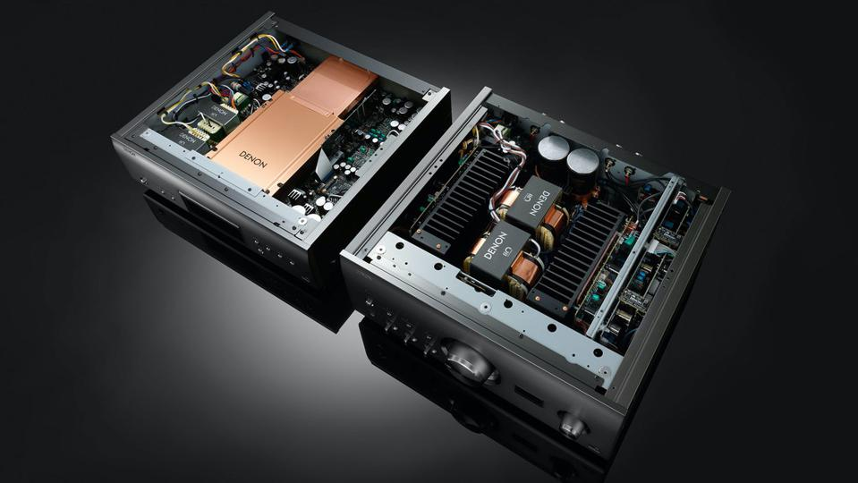 Shot of Denon DCD-A110 SACD player and PMA-A110 integrated amplifier interiors