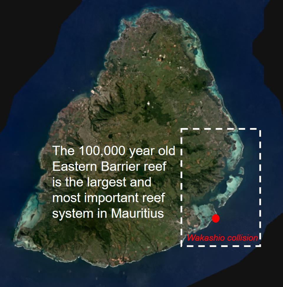 The Wakashio hit the most important coral reef system in Mauritius, the 100,000 year old Eastern Barrier Reef that contains most of Mauritius most endangered species