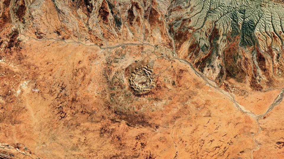A satellite view of Gosses Bluff Crater