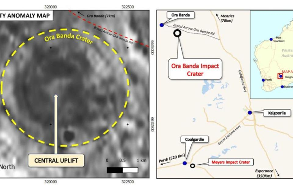 Gravimetric map showing Ora Banda crater and location of the impact site.