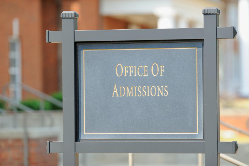 Office of admissions street sign