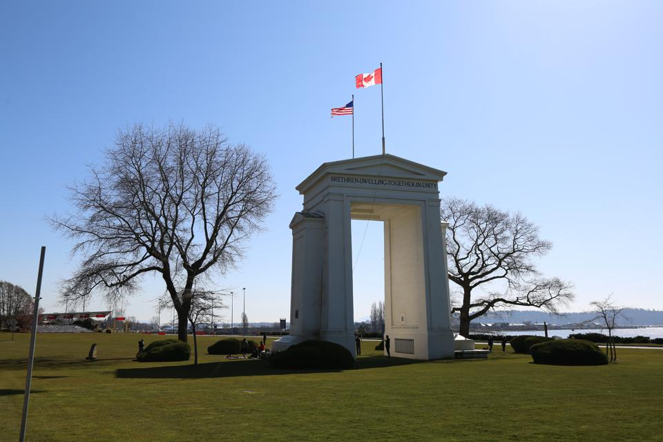 The Peace Arch Border crossing between Canada and the U.S. near Seattle, Washington and Vancouver, British Columbia