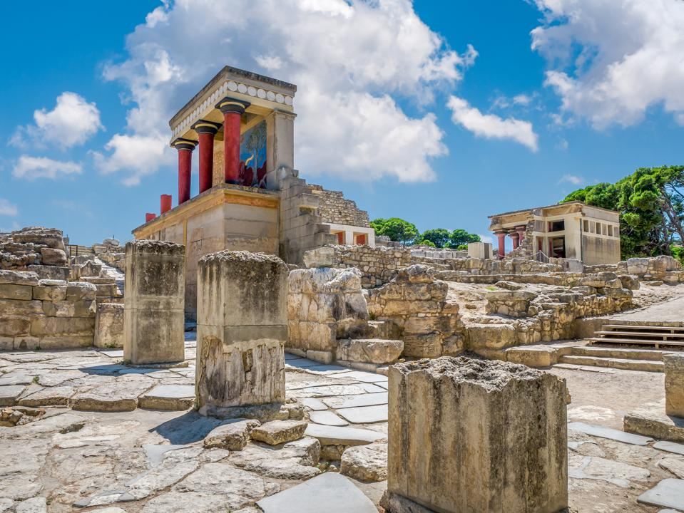 Knossos palace ruins at Crete island, Greece. Famous Minoan palace of Knossos