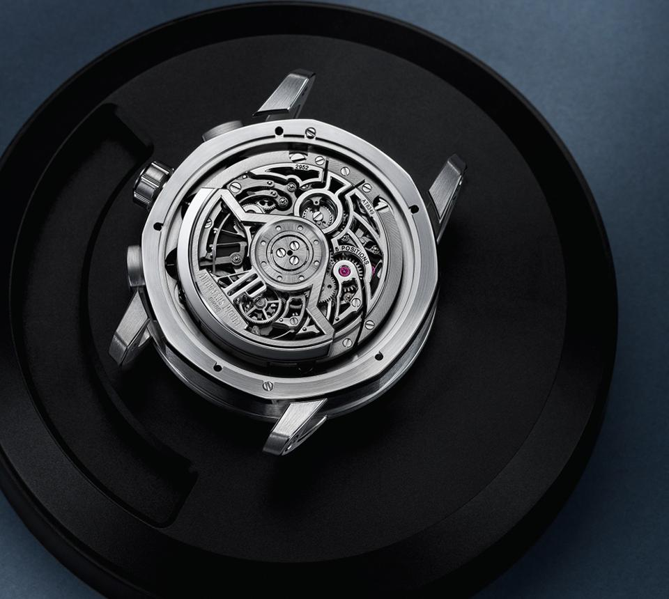The openworked caseback of the Audemars Piguet Code 11.59 Flying Tourbillon Chronograph.