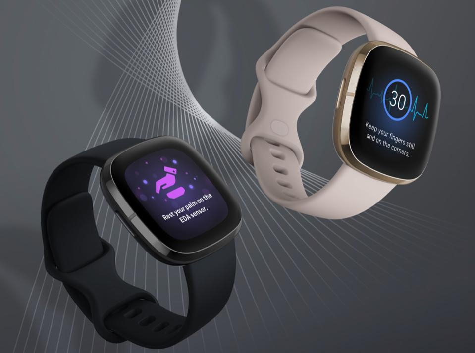 A screenshot of the new Fitbit Sense watch from Fitbit, widely viewed as the company's most direct assault yet on Apple Watch.