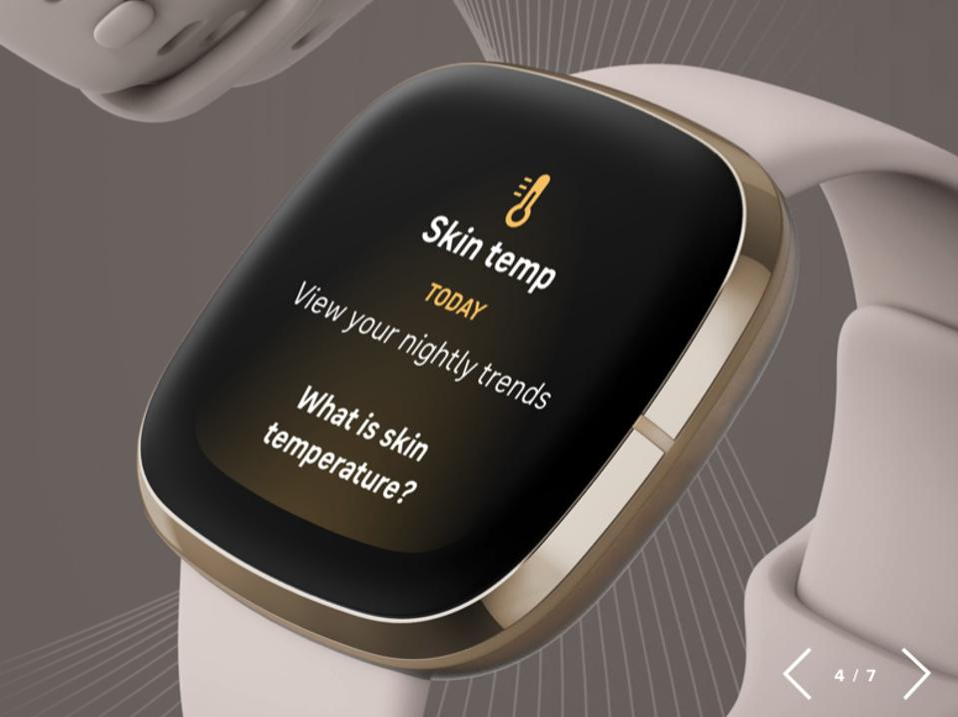 Screenshot of the Fitbit Sense measuring skin temperature.