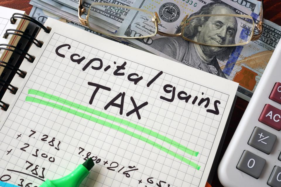 Notebook with capital gains tax  sign on a table.