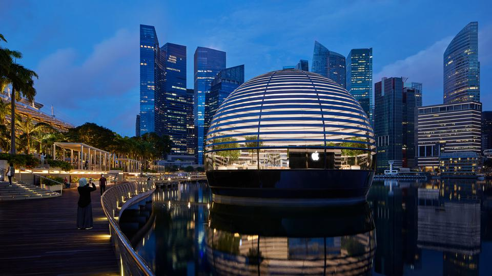 Apple's 512th store makes its debut at Singapore's iconic Marina Bay as a 'floating' glass dome on waters.