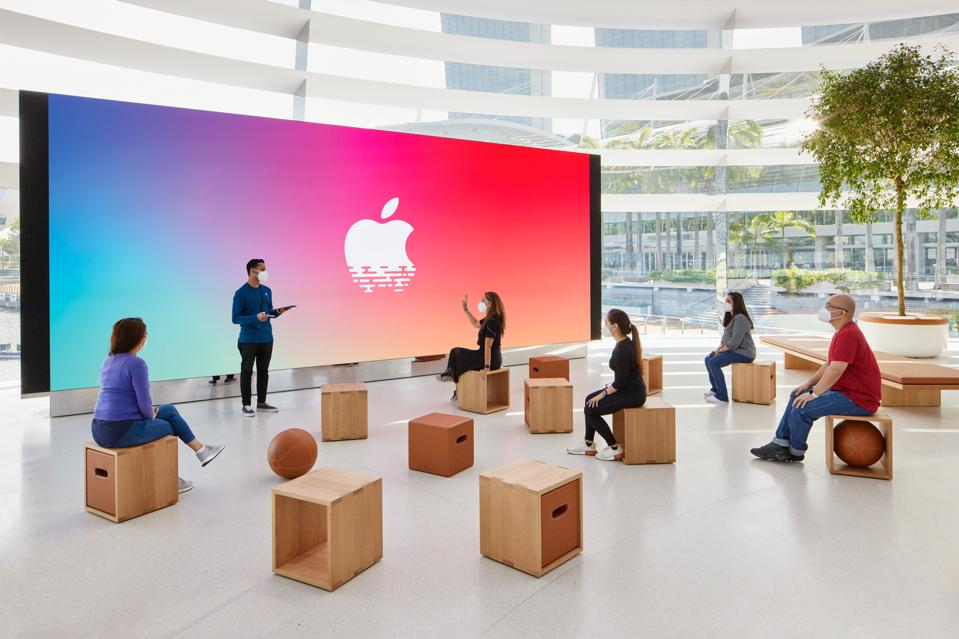 The Forum features Apple's new generation video walls, with modular seating.