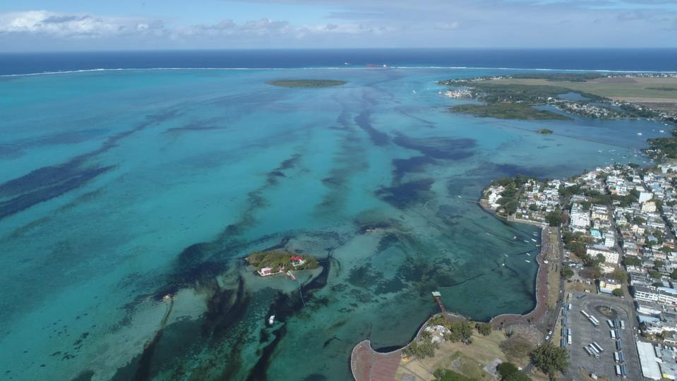 Imagery taken from drones show the extent of the oil spready across the coral lagoon in Mauritius.  While the thick black oil is visible to the eye, the real concern has been the invisible chemical reactions taking place around the oil spill.