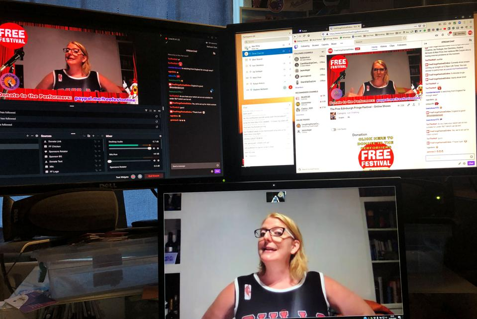 Comedian Robyn Perkins performs for Edinburgh Fringe Free Festival online, three screens