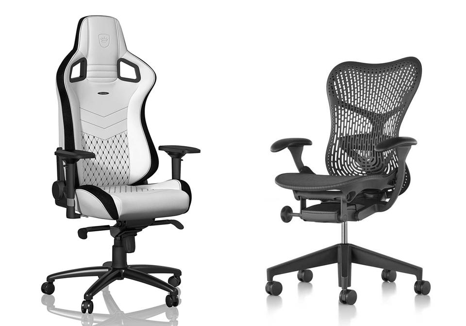 Promo images of the Noblechairs Epic and Herman Miller Mirra 2.