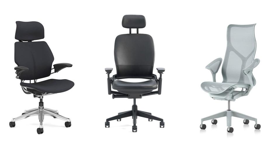 The Humanscale Freedom, Steelcase Leap and Herman Miller Cosm.