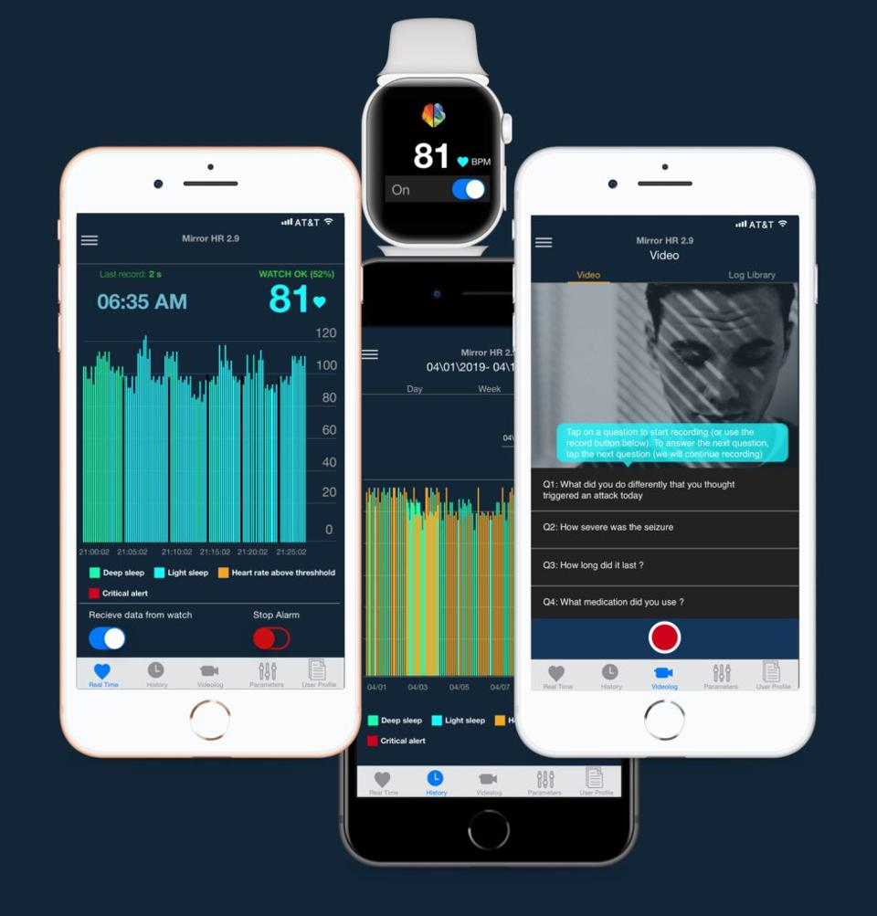 Prototypes of The MirrorHR mobile app showing sleep quality, video diary and watch interface