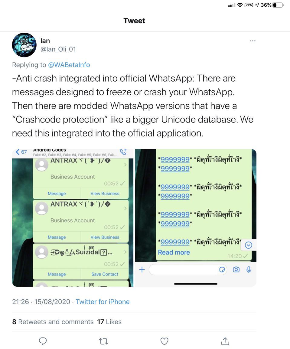 WhatsApp crash messages