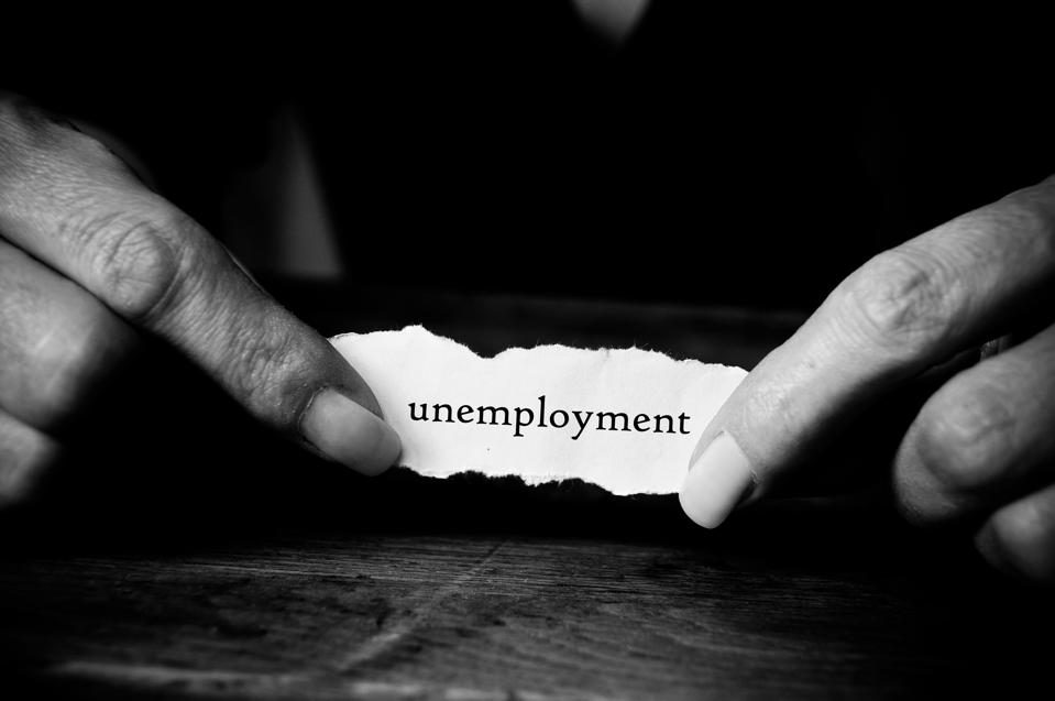 Concept woman with message in hands - unemployment