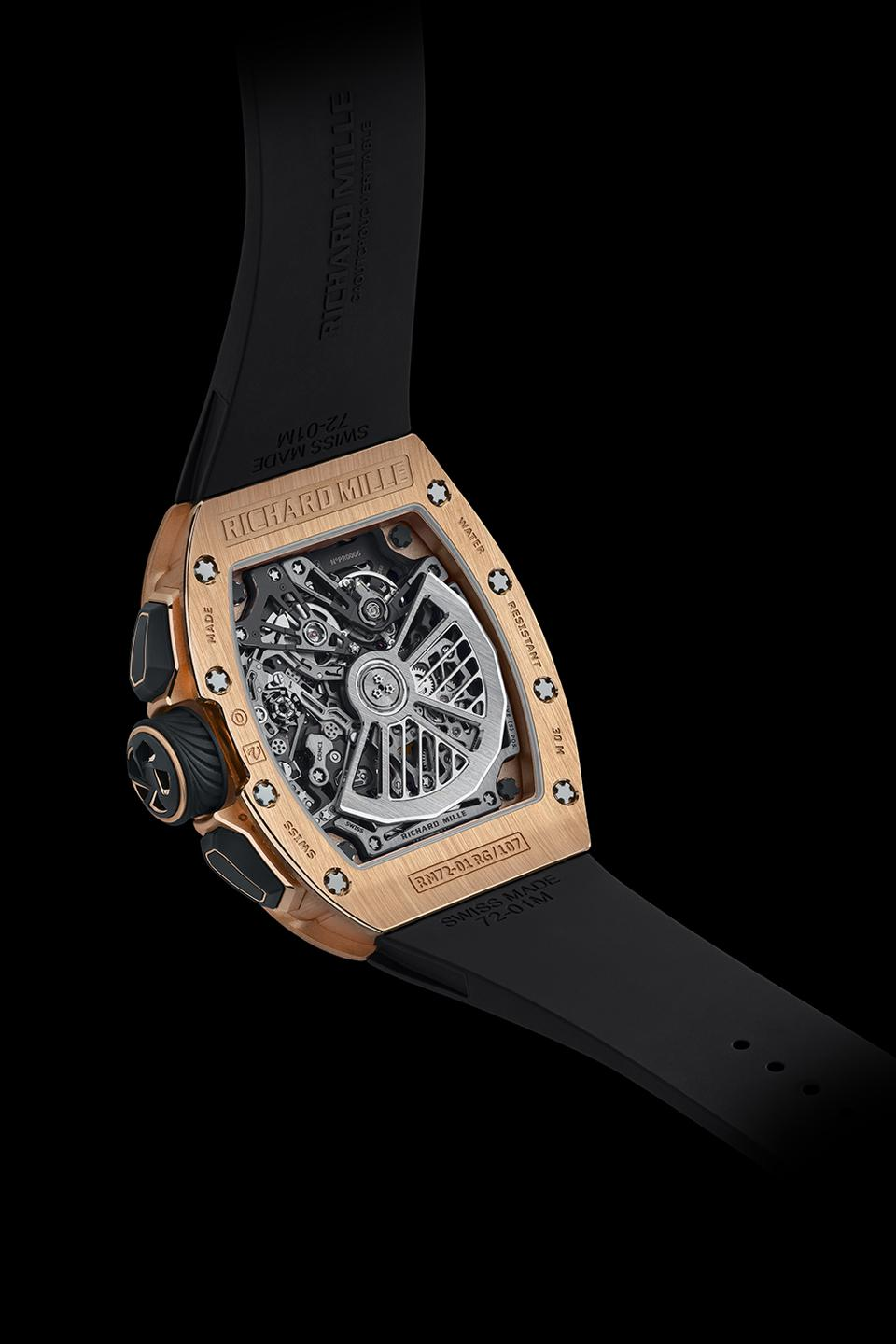 The open caseback of the Richard Mille RM 72-01 Lifestyle In-House Chronograph shows the new movement, caliber CRMC1.