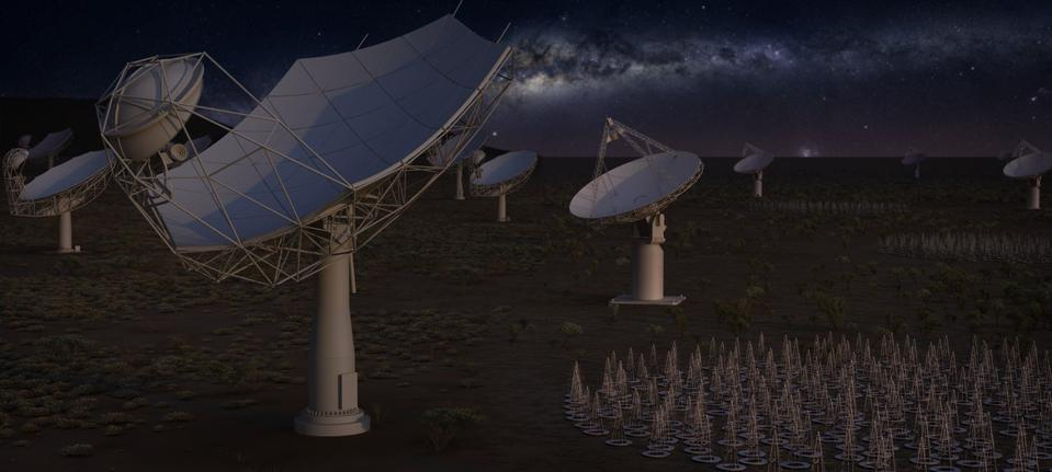 Artist's impression of the full Square Kilometre Array at night featuring all four elements. The low frequency aperture array antennas (bottom right), and precursor ASKAP dishes (background right) will be located in Western Australia. The SKA-mid (front left) dishes and precursor MeerKAT dishes (background left) will be located in South Africa, with some remote stations in other African partner countries.