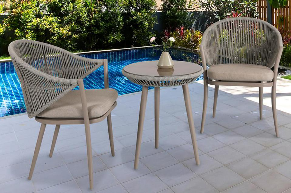Nuu Garden 3-Piece Aluminum Outdoor Bistro Set with Coffee Cushion