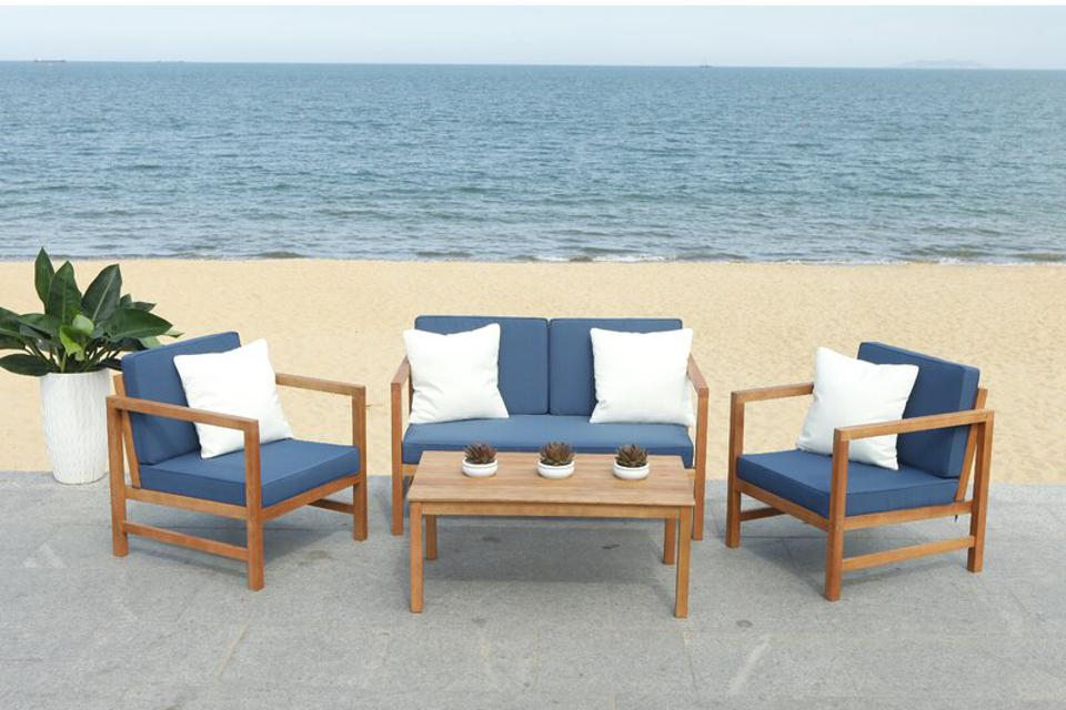 Beachrest Home Crocett 4 Piece Sofa Seating Group with Cushions