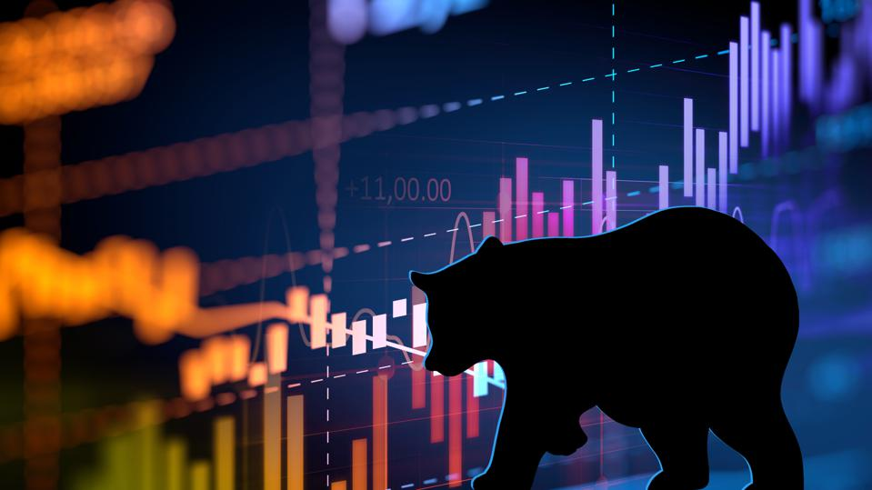 silhouette form of bear on technical financial graph