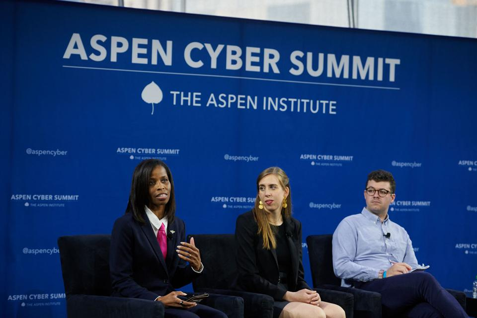 Tanner presenting on an AI panel at the Aspen Cyber Summit