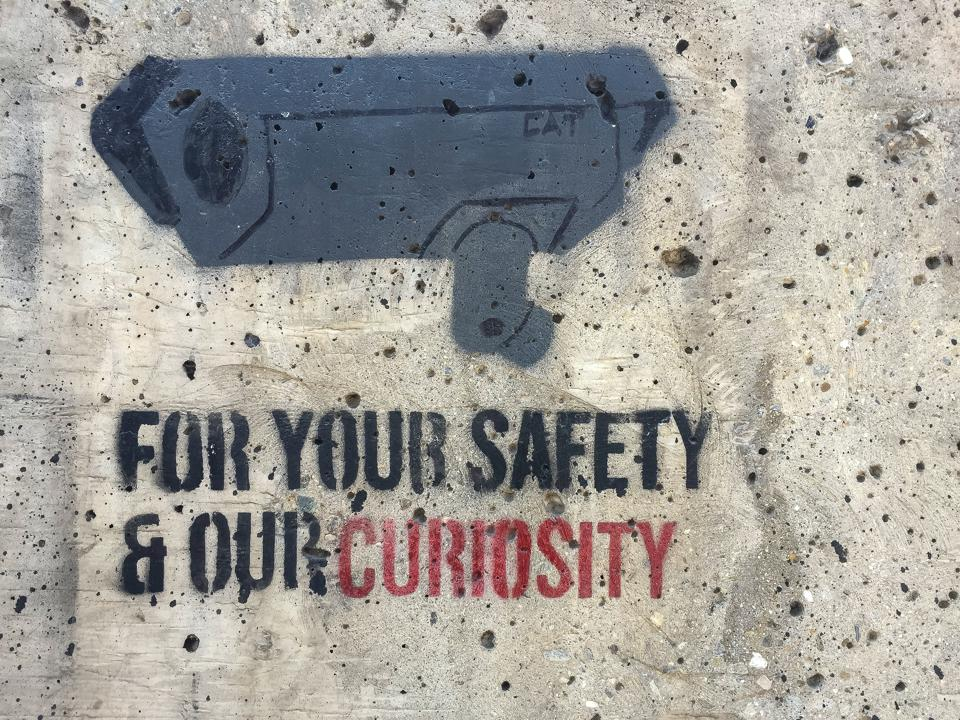 Image of a surveillance camera painted on a wall with the cation: For your safety and our curiosity.
