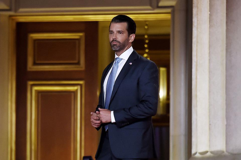 Donald Trump Jr. walks as he prepares to speak during the first day of the Republican convention at the Mellon auditorium on August 24, 2020 in Washington, DC.