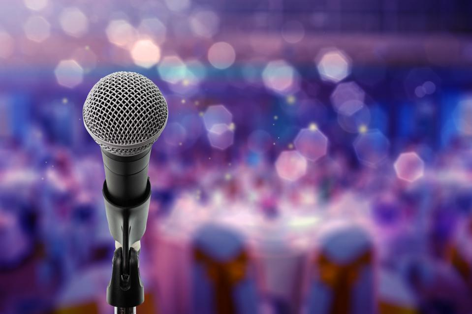 Close up microphone on stage in ballroom