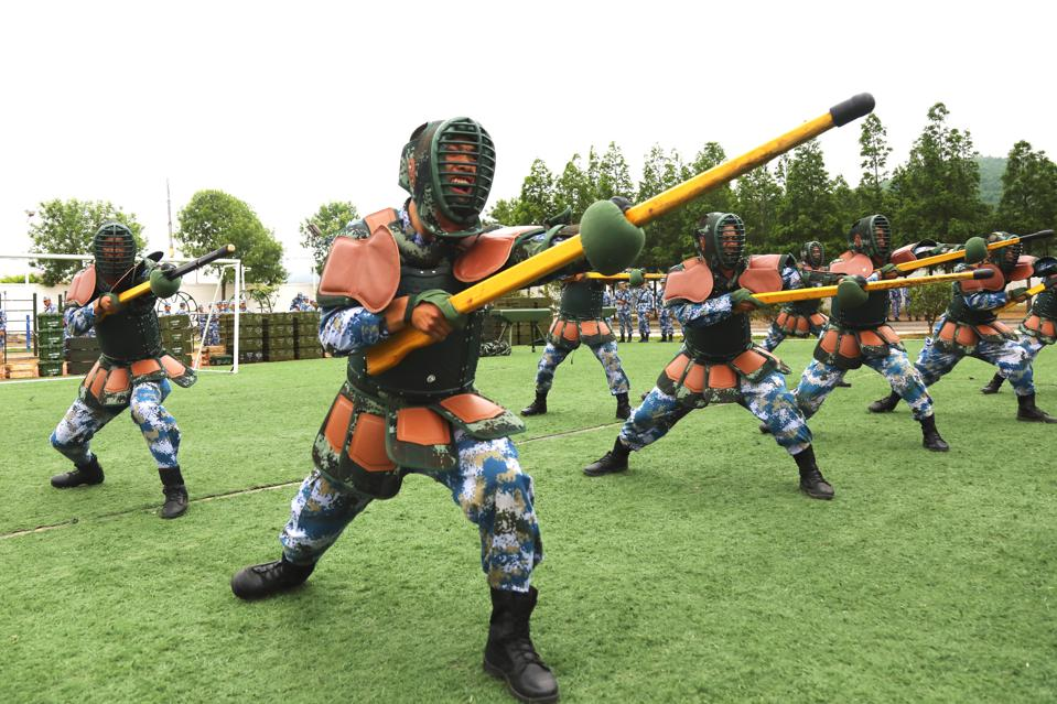 The Marines soldiers are making bayonet fighting training in Shandong,China on 09th June, 2020