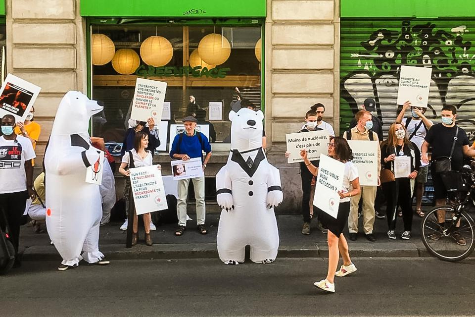 Pro-nuclear environmentalists in Paris protest Greenpeace on June 30, 2020.